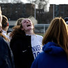 HADLEY GREEN/ Staff photo<br /> Danvers' captain Riley Baker (19) cheers with her team at halftime during the Falcons' match against Winchester for the Division 2 North championship title at the Manning Field in Lynn.<br /> <br /> 11/12/2018