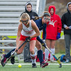 AMANDA SABGA/Staff photo <br /> <br /> Masconomet's Mak Graves (3) fights off Andover's Hanna Medwar (2) during the division one north field hockey championship game at North Andover High School. Masconomet defeated Andover 2-1 in sudden death overtime.<br /> <br /> 11/10/18