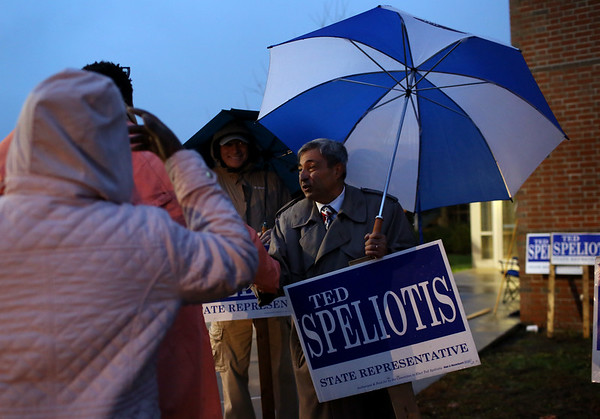 HADLEY GREEN/ Staff photo<br /> Rep. Ted Speliotis of Danvers campaigns outside Danvers High School on Election Day.<br /> <br /> 11/06/2018