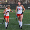 AMANDA SABGA/Staff photo <br /> <br /> Masconomet teammates Mak Graves (3) and Cally McSweeney (9) celebrate their sudden death win over Andover in the division one north field hockey championship game at North Andover High School. Masconomet defeated Andover 2-1 in sudden death overtime.<br /> <br /> 11/10/18