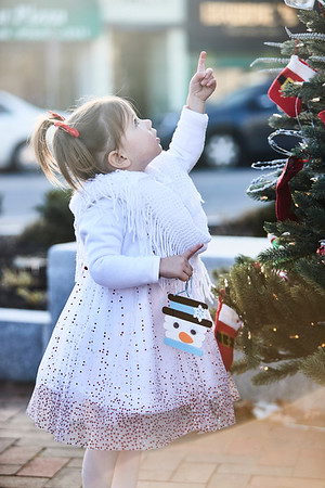 Madeline LeBrun checks out the Christmas Tree at City Hall during the annual Holiday Stroll in Peabody, Saturday, November 24, 2018. Jared Charney / Photo