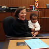 HADLEY GREEN/ Staff photo<br /> Judge Abbe Ross holds newly adopted Tyler Mogauro, 11 months old, of Peabody, at National Adoption Day at the Probate and Family Court in Salem. <br /> <br /> 11/16/2018