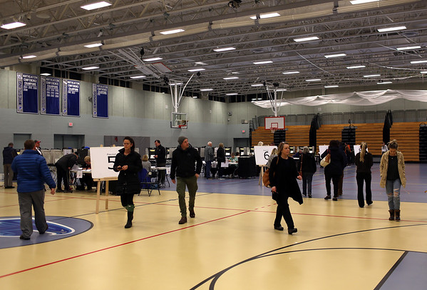 HADLEY GREEN/ Staff photo<br /> Voters walk through the Danvers High School polling location on Election Day.<br /> <br /> 11/06/2018