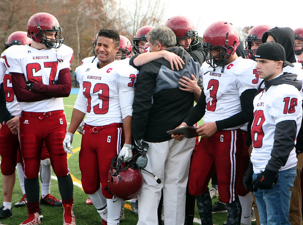 Gloucester players are upset after their loss to Danvers during the  annual Thanksgiving Day football game rivalry. <br /> Nov. 24, 2016