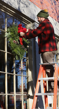 Hanging Christmas wreaths