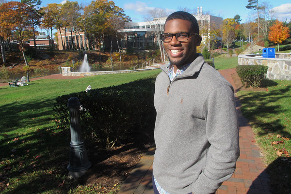 BEVERLY -- Jordan Saintil, a senior at Endicott College, has taken advantage of internships and career services resources while studying at the liberal arts college. <br /> Staff photo/Ethan Forman <br /> Nov. 4, 2016