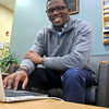 BEVERLY -- Jordan Saintil, an Endicott College senior, used his internships to learn about what he wanted to do, and not do, for a career.<br /> Ethan Forman/Staff photo<br /> Nov. 4, 2016