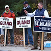 HADLEY GREEN/Staff photo<br /> Beverly city council candidate Matt St. Hilaire campaigns outside the Centerville School polling center in Beverly.<br /> 11/07/17