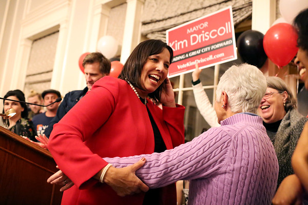 HADLEY GREEN/Staff photo<br /> Salem Mayor Kim Driscoll celebrates her re-election victory over Paul Prevey at the Hawthorne Hotel.<br /> 11/07/17