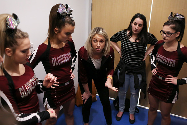 HADLEY GREEN/Staff photo<br /> Gloucester cheerleading coach Erica Mitchell gives her team a pep talk before competing at the Massachusetts State Cheerleading Tournament at Worcester State University.<br /> <br /> 11/19/17
