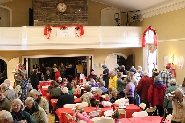 HADLEY GREEN/Staff photo<br /> People shop and eat at the Swedish Yule Fair at the Hamilton-Wenham Community House.<br /> <br /> 11/25/17