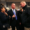HADLEY GREEN/Staff photo<br /> Brian Ferraro and Belle Notario Steadman speak with Salem mayoral candidate Paul Prevey on election night after he lost to Salem Mayor Kim Driscoll at a reception held at the Salem Waterfront Hotel. 11/07/17