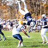 HADLEY GREEN/Staff photo<br /> Hamilton-Wenham's Cam Peach (44) flips into the end zone to score a touchdown at the Hamilton-Wenham v. Arlington Catholic Division 6 North playoff semifinals football game at Hamilton-Wenham High School.<br /> <br /> 11/04/17