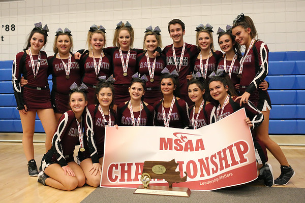 HADLEY GREEN/Staff photo<br /> Gloucester cheerleaders win first place in the small school co-ed division at the Massachusetts State Cheerleading Tournament at Worcester State University.<br /> <br /> 11/19/17