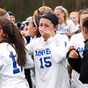 HADLEY GREEN/Staff photo<br /> Danvers' Madison Pesce (15) reacts after her team wins the Division 2 crown against Medway in penalty kicks after two overtimes.<br /> <br /> 11/18/17