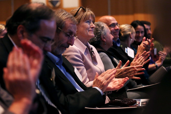 """HADLEY GREEN/Staff photo<br /> Audience members applaud after the YMCA of the North Shore presents their """"Y's Water Wise"""" project at the Northeast Arc Tank competition at the JFK Library & Museum in Boston. <br /> <br /> 11/15/17"""