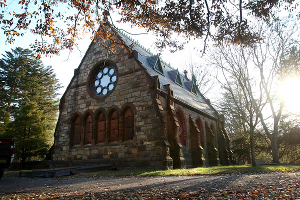 HADLEY GREEN/Staff photo<br /> The rose window of the Dickson Memorial Chapel at Greenlawn Cemetery in Salem has been newly restored.<br /> <br /> 11/25/17