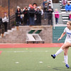 HADLEY GREEN/Staff photo<br /> Danvers' Lydia Runnals (1) scores the winning penalty kick after two overtimes at the Medway v. Danvers Division 2 girls soccer state championship game at Fitchburg State University.<br /> <br /> 11/18/17