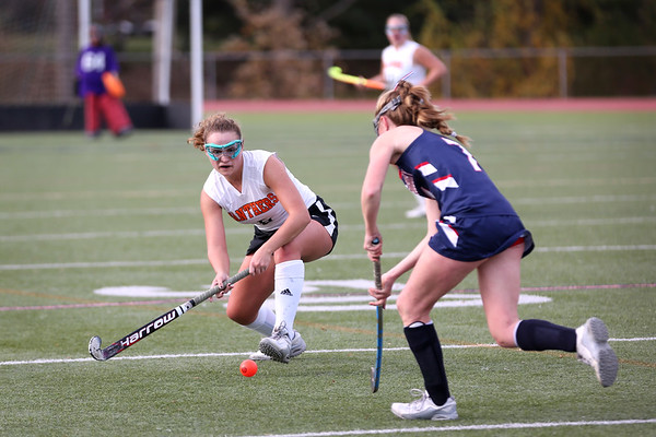 HADLEY GREEN/Staff photo<br /> Beverly's Natalie Matthews (6) moves the ball up the field at the Beverly v. Lincoln-Sudbury field hockey playoff game at Beverly High School. 11/02/17