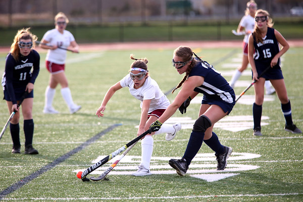 HADLEY GREEN/Staff photo<br /> Gloucester's Mia Salah (1) runs for the ball at the Gloucester v. Wilmington Division 2 North quarterfinals field hockey game at Gloucester High School.<br /> <br /> 11/04/17