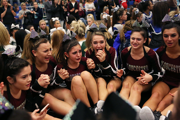 HADLEY GREEN/Staff photo<br /> Gloucester cheerleaders wait in anticipation before the results are announced at the Massachusetts State Cheerleading Tournament at Worcester State University.<br /> <br /> 11/19/17