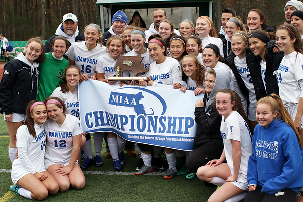 HADLEY GREEN/Staff photo<br /> Danvers players celebrate after winning the Division 2 girls soccer state championship. <br /> <br /> <br /> 11/18/17