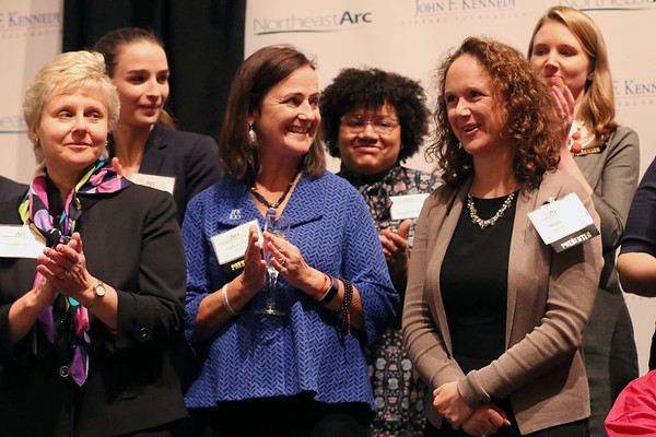 "HADLEY GREEN/Staff photo<br /> Meegan O'Neil smiles after being awarded $30,000 for the YMCA of the North Shore's ""Y's Water Wise"" project at the Northeast Arc Tank competition at the JFK Library & Museum in Boston. <br /> <br /> 11/15/17"