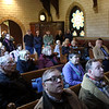 HADLEY GREEN/Staff photo<br /> Community members attend a ribbon cutting ceremony for the restored rose window and first phase of the Dickson Memorial Chapel restoration at Greenlawn Cemetery in Salem.<br /> <br /> 11/25/17