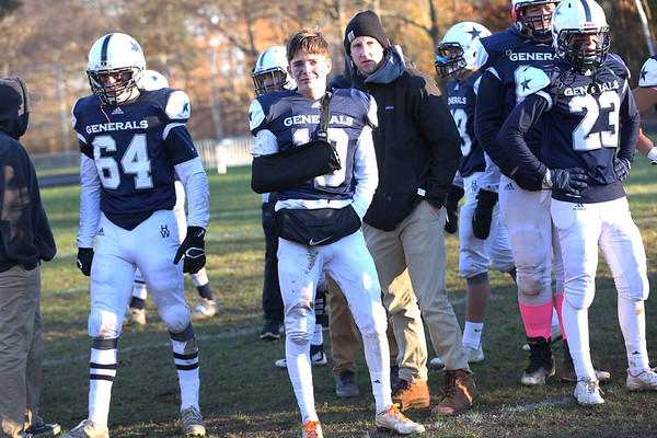 HADLEY GREEN/Staff photo<br /> Hamilton-Wenham players line up after losing the Division 6 North football title game against Stoneham. 11/11/17