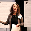 "HADLEY GREEN/Staff photo<br /> Meegan O'Neil of the YMCA of the North Shore presents the ""Y's Water Wise"" project at the Northeast Arc Tank competition at the JFK Library & Museum in Boston. <br /> <br /> 11/15/17"