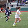 HADLEY GREEN/Staff photo<br /> Danvers' Erica Blanch (12) runs with the ball at the Medway v. Danvers Division 2 girls soccer state championship game at Fitchburg State University.<br /> <br /> 11/18/17