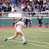 HADLEY GREEN/Staff photo<br /> Danvers' Lydia Runnals (1) rushes to her teammates after scoring the winning penalty kick at the Medway v. Danvers Division 2 girls soccer state championship game at Fitchburg State University.<br /> <br /> 11/18/17