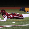 HADLEY GREEN/Staff photo<br /> Gloucester's John Mondello dives for the ball at the Gloucester v. Swampscott football game at Gloucester High School.<br /> 11/10/17
