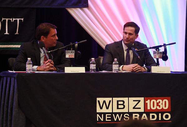 Congressional candidates republican Richard Tisei, left, and democrat Seth Moulton, right, participated in WBZ Radio Host Dan Rea's Talk the Vote at Endicott College on Wednesday evening. DAVID LE/Staff photo. 10/29/14.