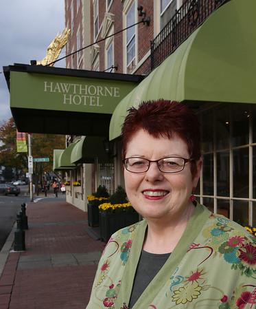 KEN YUSZKUS/Staff photo. Juli Lederhaus is the general manager of the Hawthorne Hotel in Salem  10/29/14