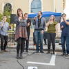 PARKER FISH/ Photo. The Eight Tracks, an acappella group from Boston perform for guests on Cabot Street during the block party on Saturday. 9/17/16