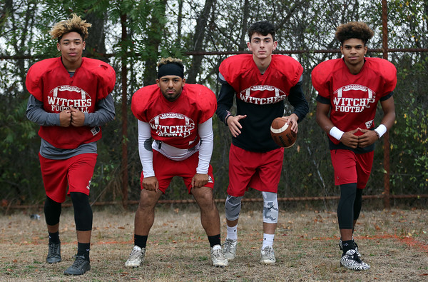 DAVID LE/Staff photo. Salem football offensive stars include Vinnie Gaskins, Xavier Cole, Jared Lubas, and Jeffrey Rodriguez. 9/28/16.
