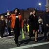 DAVID LE/Staff photo. Salem Mayor Kim Driscoll, Senator Joan Lovely, and State Rep Paul Tucker, were among the first dignitaries at the front of the annual Haunted Happenings Parade on Thursday evening. 10/6/16.