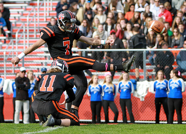 Beverly's Luke Samperi makes the extra point in a game Saturday, October 15, against Danvers at Hurd Stadium. Photo by Nicole Goodhue Boyd