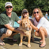 PARKER FISH/ Photo. Jake Pendlebury (right), Kathy Pendlebury (left) and Barbara Hashian pose with their dog Barney, who is an eight year old yellow lab.  9/17/16