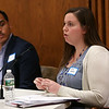HADLEY GREEN/Staff photo<br /> Salem School Committee candidate Amanda Campbell speaks at the school committee debate at Collins Middle School in Salem. 10/11/17
