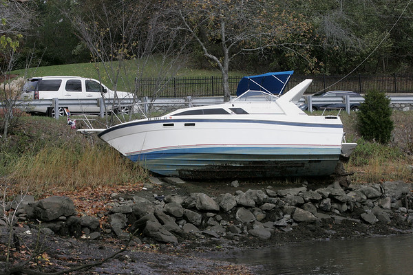 Boat ended up on shore in Beverly