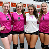"HADLEY GREEN/Staff photo<br /> From left, captains Maddy Cassidy, Katie Noonan, Bri Snow, and Sydney Wiley stand together before the Beverly v. Winthrop girls volleyball ""Dig Pink"" game. 10/06/17"