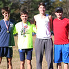 HADLEY GREEN/Staff photo<br /> From left, Peabody's Claudio Rocha, Shane Braz, William Alyward and Marc Alperen came in first, second, third, and fourth, respectively, in the boys varsity race at the Northeastern Conference Cross Country championships at Bradley Palmer State Park.<br /> <br /> 10/28/17