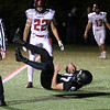 HADLEY GREEN/Staff photo<br /> Marblehead's Andy Clough (87) scores a touchdown at the Marblehead v. Gloucester varsity football game at Marblehead High School. 10/13/17