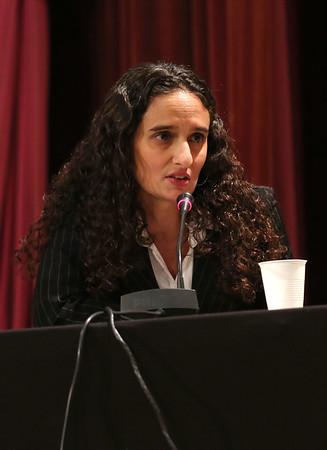 HADLEY GREEN/Staff photo<br /> Linda Quadros Lopez speaks at the Peabody school committee debate held at Peabody City Hall. 10/17/17