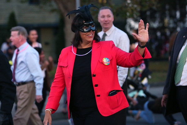 HADLEY GREEN/Staff photo<br /> Salem Mayor Kim Driscoll walks down the street in the Annual Haunted Happenings Parade in downtown Salem. 10/05/17