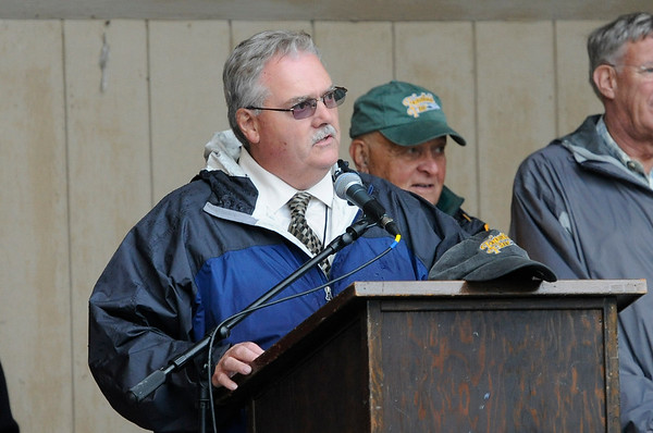 TIM JEAN/Staff photo<br /> James O'Brien, General Manager of the Topsfield Fair speaks during opening ceremonies of the Topsfield Fair. 9/30/17