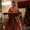 "HADLEY GREEN/Staff photo<br /> Actress Kathy-Ann Hart, playing the role of Salem abolitionist Sarah Parker-Remond, gives a speech at the ceremony to unveil a new display at the Salem Museum titled ""Salem, Slavery & Abolition."" <br /> <br />  10/18/17"