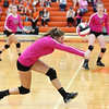 "HADLEY GREEN/Staff photo<br /> Beverly's Sydney Wiley (1) returns the ball at the Beverly v. Winthrop girls volleyball ""Dig Pink"" game. 10/06/17"